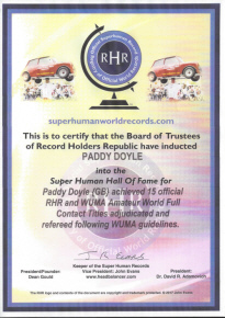 Super Human Certificate Paddy Doyle