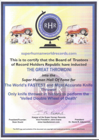 Super Human Certificate The Great Throwdini